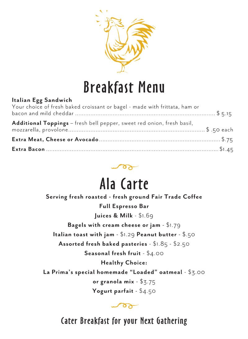 Image of La Prima Catering Breakfast Menu